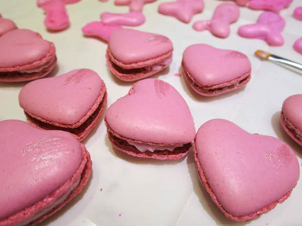 pink macarons for breast cancer awareness