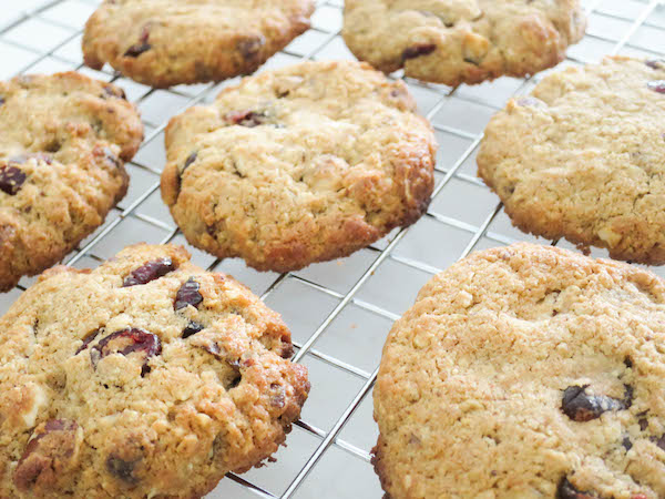 wholesome hazelnut and cranberry cookies