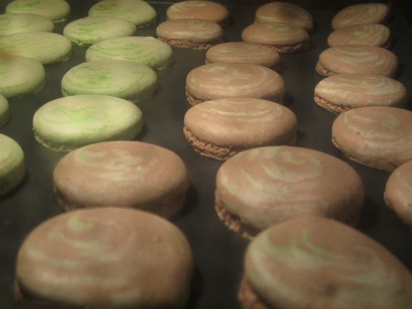 Mint Chocolate Macarons