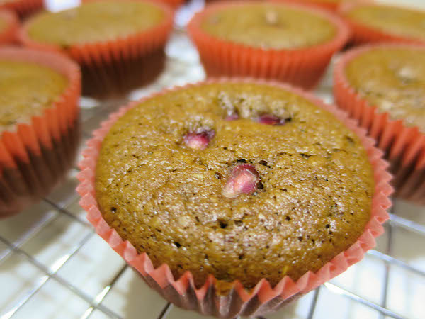 Almond chocolate & pomegranate muffins